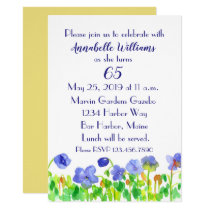 Purple Flowers 65th Birthday Party Invitation