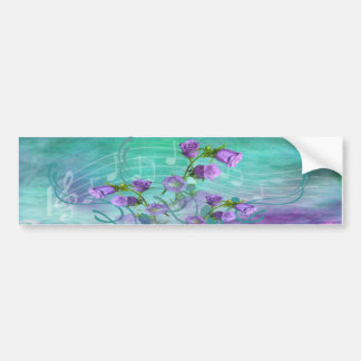 Purple Flowers and a Musical Score Bumper Sticker