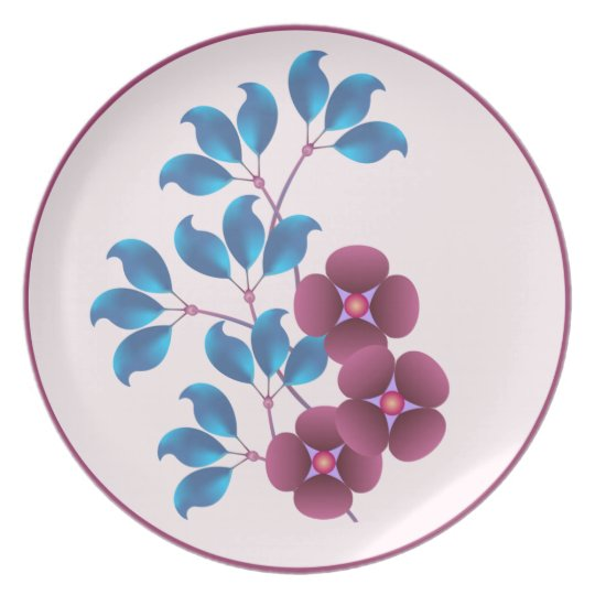 Purple Flowers and Blue Leaves Plate