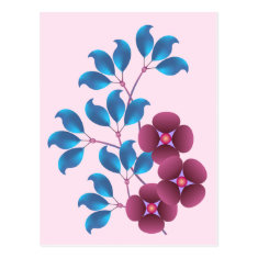 Purple Flowers and Blue Leaves Postcards