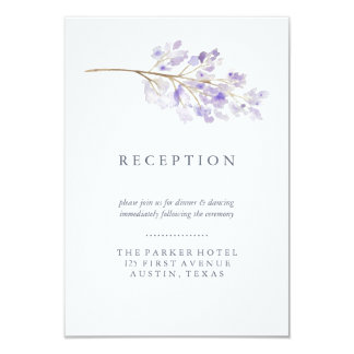Purple Flowers and Branch Watercolor Reception Card