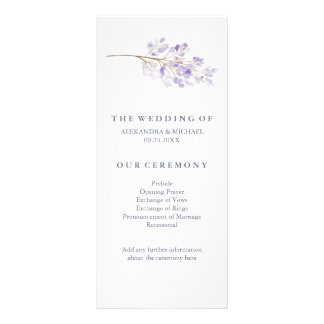 Purple Flowers and Branch Wedding Program