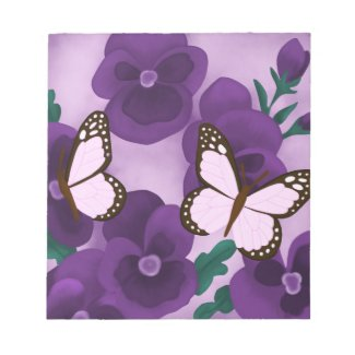 Purple Flowers and Butterflies Notepad