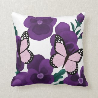 Purple Flowers and Butterflies Throw Pillow