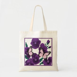Purple Flowers and Butterflies Tote Bag