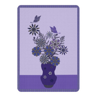 Purple Flowers And Butterfly Arrangement Card