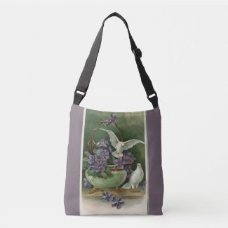 Purple Flowers and Doves Crossbody Bag