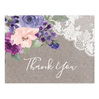 Purple Flowers and Lace Thank You Postcard