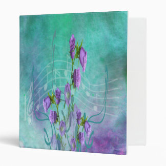 Purple Flowers and Musical Notes Binder