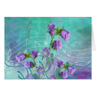 Purple Flowers and Musical Notes Greeting Card