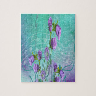 Purple Flowers and Musical Notes Jigsaw Puzzle