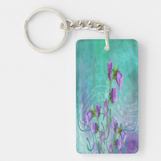 Purple Flowers and Musical Notes Keychain