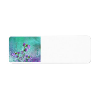 Purple Flowers and Musical Notes Label