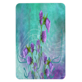 Purple Flowers and Musical Notes Magnet
