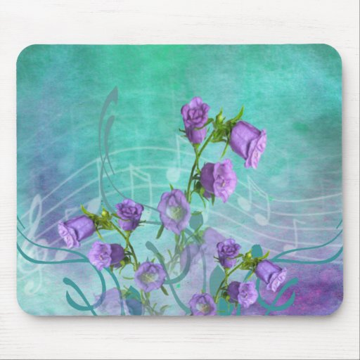 Purple Flowers and Musical Notes Mouse Pad