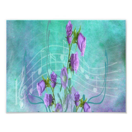 Purple Flowers and Musical Notes Photo Print