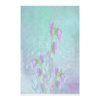 Purple Flowers and Musical Notes Stationery