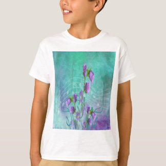 Purple Flowers and Musical Notes T-Shirt