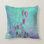 Purple Flowers and Musical Notes Throw Pillows