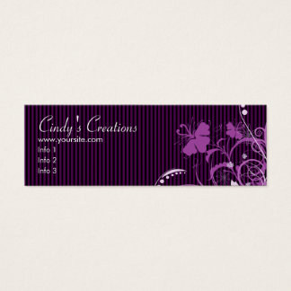 Purple Flowers and Stripes Mini Business Card