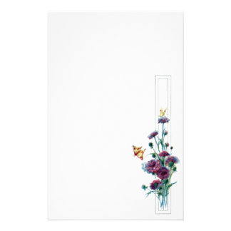 Purple Flowers and Tiny Butterflies Stationery