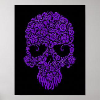 Purple Flowers and Vines Skull Design on Black Poster