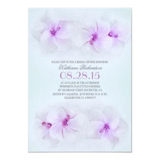 purple flowers beach bridal shower 5x7 paper invitation card