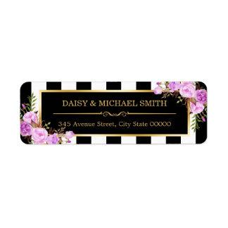 Purple Flowers Black White Stripes Gold Frame Label