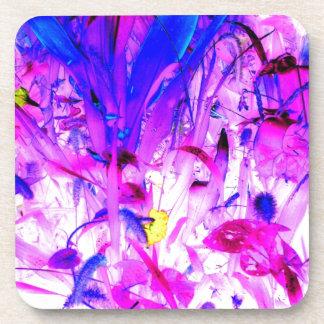 Purple Flowers Blue Jungle Garden Abstract Art Coasters