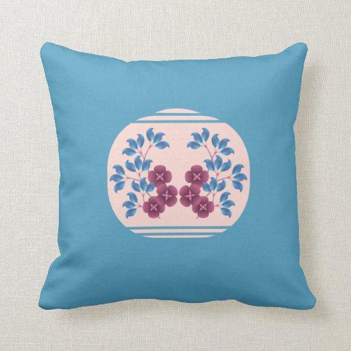 Purple Flowers & Blue Leaves American Mojo Pillow