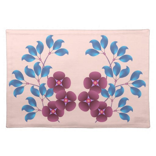 Purple Flowers & Blue Leaves American Mojo Placema Cloth Place Mat