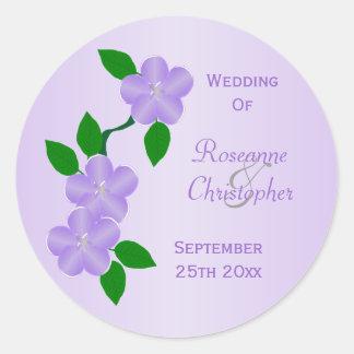 Purple Flowers Bride And Groom Wedding Classic Round Sticker