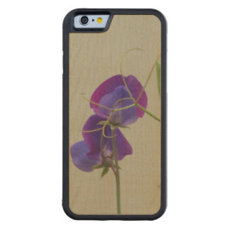 Purple Flowers Carved Maple iPhone 6 Bumper Case