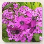 Purple Flowers Cork Coaster Set