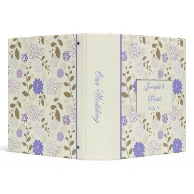 Purple Flowers Cream Background Wedding Album Vinyl Binder by DazzetteMarie