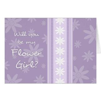 Purple Flowers Flower Girl Invitation Card