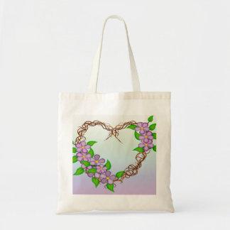 Purple Flowers Grapevine Wreath Tote Bag