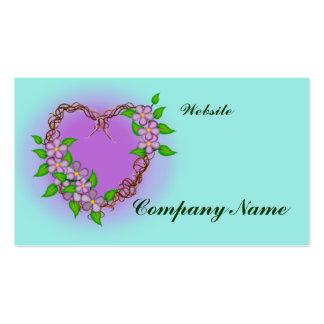 Purple Flowers Grapevine Wreath Business Card Template
