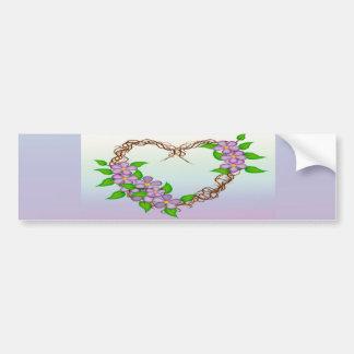 Purple Flowers Grapevine Wreath Car Bumper Sticker