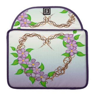 Purple Flowers Grapevine Wreath Sleeves For MacBooks