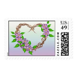 Purple Flowers Grapevine Wreath Stamp