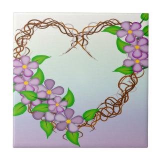 Purple Flowers Grapevine Wreath Tiles