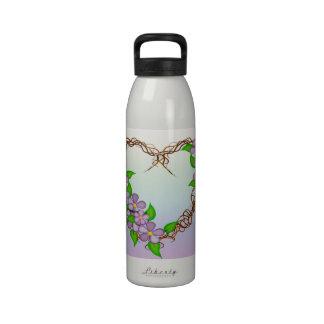 Purple Flowers Grapevine Wreath Drinking Bottles
