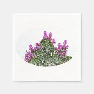 purple flowers green bush floral sketch design disposable napkin