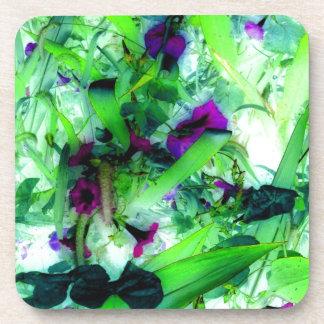 Purple Flowers Green Jungle Garden Abstract Art Coasters