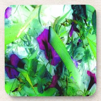 Purple Flowers Green Jungle Garden Abstract Art Drink Coaster