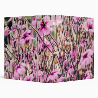 Purple Flowers Growing In A Field, Nature, Floral 3 Ring Binder