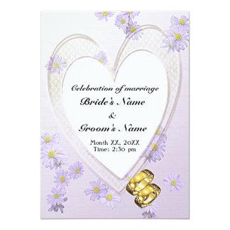 Purple Flowers, Heart Frame, Rings, Wedding Invite