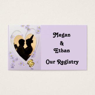 Purple Flowers, Heart, Gold Rings Registry Card