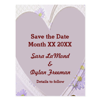 Purple Flowers, Heart, Rings, Save the Date PCard Postcard